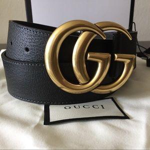 Gold buckle black GG leather pigskin belt